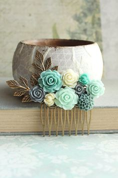 Bridal Hair Piece Aqua Floral Hair Comb by apocketofposies on Etsy