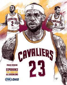 Cleveland Cavaliers 'Big Three' Geometric Sketch