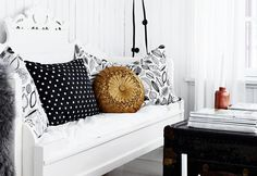 Day bed with black white and gold cushions Gold Cushions, Daybed, Vignettes, Entryway Bench, Lounge, Black And White, Living Room, Heart, Summer