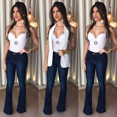 Calça jeans flare, body rendado branco e colete branco ( opcional)