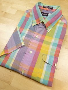 vintage indian madras short sleeve shirt by GANT by SaltySalute, $45.00 Box Pleats, Button Down Collar, Preppy, Plaid, Indian, Sleeve, Cotton, Mens Tops, Manga