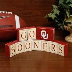 Oklahoma Sooners Wooden Block Set crimson cream gift ou oku pride gameday family decor home