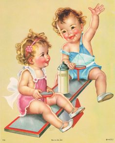 """Vintage Charlotte Becker """"Up In The Air"""" baby print."""