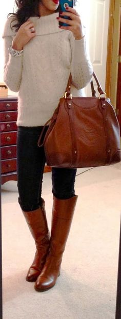 White wide collar sweater, jeans and long boots