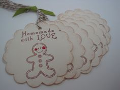 Handmade Gift Tags  Gingerbread man  Christmas Goodies by wkburden, $4.99