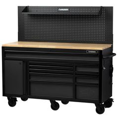 Husky Drawer Mobile Workbench With Solid Wood Top . Husky 61 In W 23 In D Door Mobile Workbench . Husky 46 In W 9 Drawer Deep Tool Chest Mobile Workbench . Tool Workbench, Mobile Workbench, Workbench Ideas, Workbench Organization, Workbench Designs, Workbench Stool, Folding Workbench, Workbench With Pegboard, Garage Organization