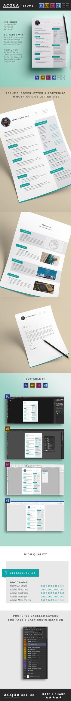 Amazing clean resume design.  Available in both DIN A4 and US Letter format. Includes files for Adobe Photoshop, Adobe Illustrator, Adobe Indesign and Microsoft Word.   Download it here: http://graphicriver.net/item/acqua-resume/14781198?ref=TwoBrains