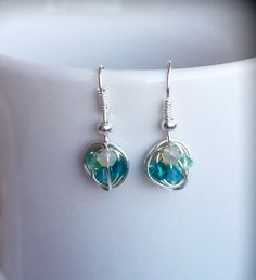 Petite Dangle Series - Dangling Wire Wrapped Earrings with Sea Colored Swarovski Crystal Beads
