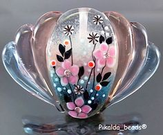 Handmade lampwork 1 bead flower-FOCAL-SRA