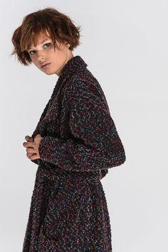 Черное пальто шерсть разноцветное букле 3390hrn High Neck Dress, Dresses, Fashion, Turtleneck Dress, Vestidos, Moda, Fashion Styles, Dress, Fashion Illustrations