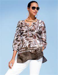 Tunic in brown/white, pure silk, Sunglasses, Necklace, Bracelet Silk Tunic, Tunic Blouse, Ruffle Blouse, Fashion 2017, Spring Fashion, Madeleine Fashion, Mature Fashion, Trends, Stylish Girl
