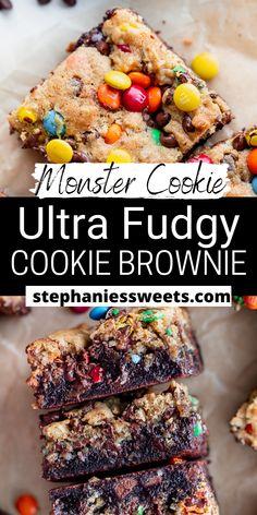 Cookie Brownies, Blondie Brownies, Best Brownies, Fudgy Brownies, Chocolate Brownies, Easy Desserts, Dessert Recipes, Monster Cookie Dough, Mini Chocolate Chips