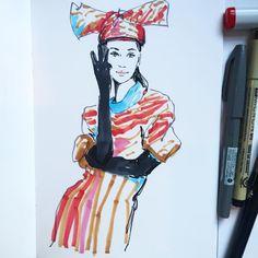 Quick sketch before evening course at CSM #kenzoxhm #hm #kenzo #fashiondrawing #illustration #csm #fashionillustration #copic #markers #micronpen #pentel #moleskine #sketchbook #vogueuk