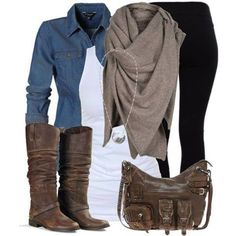 I love the casual, but put together look of this outfit! The boots and purse are great with black pants, the denim top with white underneath and of course, being a scarf girl, I LOVE the scarf and think it really makes this average outfit look awesome. Casual Fall Outfits, Fall Winter Outfits, Autumn Winter Fashion, Casual Winter, Casual Summer, Stylish Eve Outfits, Summer Outfits, Denim Outfits, Casual Weekend