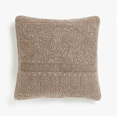 Image 1 of the product FADED DENIM-EFFECT COTTON CUSHION COVER WITH RAISED DESIGN