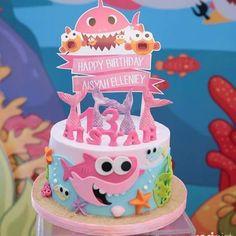 Shark Birthday Cakes, Girls Birthday Party Themes, First Birthday Cakes, Baby Birthday, Mermaid Birthday, Birthday Ideas, Baby Hai, Cake Designs For Girl, Shark Cake