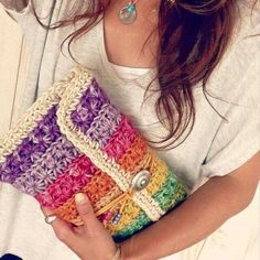 Crochet Colorful Rainbow Clutch | Star Stitch