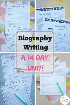 This common core aligned biography unit has everything you need to teach students how to write a biography! Whether you are looking for anchor chart ideas, templates, graphic organizers or rubrics, this unit has you covered!  #biographywritingtemplate  #b