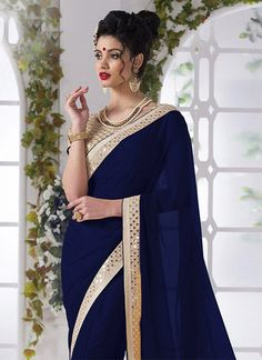 Navy Blue Shimmer Georgette Saree