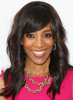 #celebrity #celebridade #celebridad  Shaun Robinson Long Hairstyles: Curly Hairstyle with Side Bangs