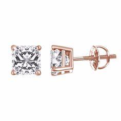 8b4dc8f57 0.50 ct Cubic Zircon Princess Cut Solitaire Stud Earrings 14k Rose Gold  Screw On #diamondearrings