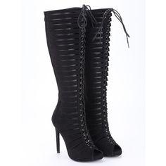 SheIn(sheinside) Black Satin Strappy Peep Toe Knee High Heels (66 BAM) via Polyvore featuring shoes, pumps, black lace up pumps, strappy pumps, black high heel shoes, black high heel pumps i lace up pumps