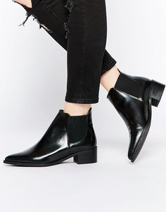 Image 1 of Warehouse Flat Leather Ankle Boot