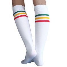 White socks with Green, Gold and Red Stripes. Made in USA School Girl Outfit, Girl Outfits, Tube Socks, High Knees, Knee High Socks, Red Stripes, Thigh Highs, Skating, Thighs