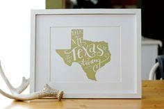 Texas Print - Southern Print - Texas Pride - Mustard Yellow - 8x10 on Etsy, $14.50
