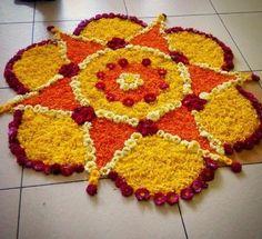 12 Types of Flower Rangoli Designs for different areas Rangoli Designs Flower, Colorful Rangoli Designs, Rangoli Designs Diwali, Rangoli Designs Images, Beautiful Rangoli Designs, Flower Designs, Rangoli Ideas, Diwali Rangoli, Rangoli With Flowers
