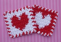 Crochet Heart Coasters designed by Doni on Whiskersandwool.  Free pattern.