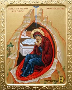 The Nativity of Christ Religious Icons, Religious Art, Writing Icon, Church Icon, Fabric Postcards, Byzantine Art, Infancy, Art Icon, Orthodox Icons