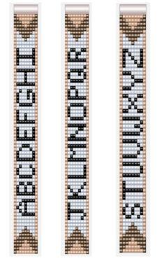 Motifs de lettres alphabétiques pour bracelets Miyuki Beadloom 7 colonnes A-Z  #alphabetiques #beadloom #bracelets #colonnes #lettres #miyuki #motifs