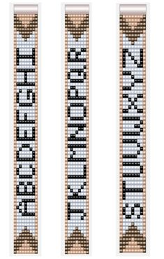 Alphabet Letter Patterns for Miyuki Beadloom Bracelets 7 col.- Alphabet Letter Patterns for Miyuki Beadloom Bracelets 7 columns A-Z - Loom Bracelet Patterns, Seed Bead Patterns, Bead Loom Bracelets, Beaded Jewelry Patterns, Weaving Patterns, Bead Jewelry, Mosaic Patterns, Knitting Patterns, Bead Loom Designs