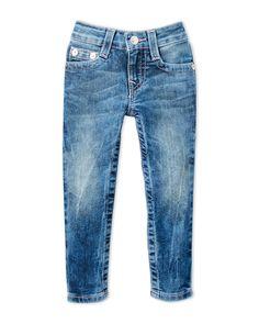 True Religion (Toddler Girls) Pink Stitch Blue Jeans