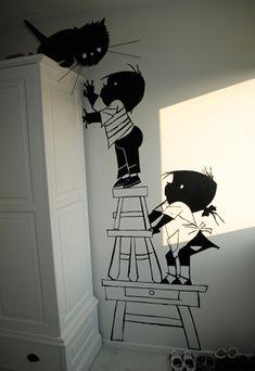 Muurbeschildering van Jip en Janneke op de slaapkamer. Super leuk! Babykamer - jongenskamer - meisjeskamer
