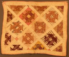 """19th Century Child's Doll Quilt """"Hole in The Barn Door"""" C1880"""