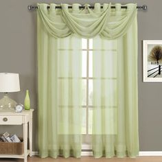 Abri Spring Green Grommet Crushed Sheer Curtain Panel from Scotts Sales. Shop more products from Scotts Sales on Wanelo.