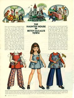 Vintage June 1973 Magazine Paper Doll Betsy McCall the Haunted House in Town