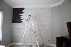 Great DIY faux-brick wall tutorial for boy's room