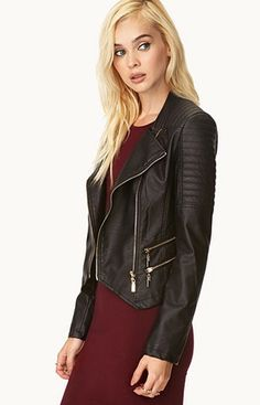 Total Babe Moto Jacket from Forever 21.  A faux leather moto jacket featuring quilted shoulders. Double-zipper placket. Long sleeves with zipper cuffs. Zippered front pockets. Fully lined.  Get your rebate from RebateGiant.