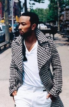 John Legend in a Badass Houndstooth trench.