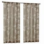Home Decorators Collection Mocha (Brown) Leaf Embroidery Rod Pocket Curtain - 50 in. W x 95 in. L