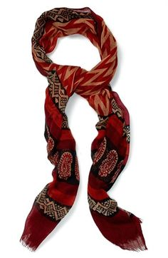 $46, Burgundy Print Scarf: Lucky Brand Print Wool Scarf. Sold by Nordstrom. Click for more info: http://lookastic.com/women/shop_items/88964/redirect
