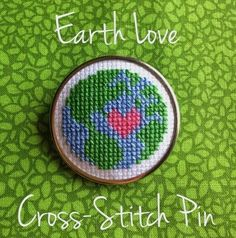 Cross Stitch Charts Free Earth Day Pin Chart - This pin is adorable and perfect for my Earth loving daughter. She is out to save the world and this would be perfect on her school bag (where she collects pins and hangs random stuff) You can down… Tiny Cross Stitch, Cross Stitch Bookmarks, Cross Stitch Needles, Cross Stich Patterns Free, Cross Stitch Charts, Free Pattern, Cross Stitching, Cross Stitch Embroidery, Embroidery Patterns