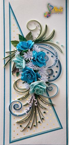 Neli Quilling Art: Quilling card with roses ( 9 cm - 20 cm )