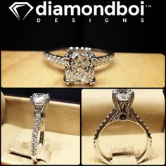 Here's another great example of how I love to mix modern elements with vintage ones. This design was made for my client Gagan. It was made with a cushion cut diamond. The diamond was placed on a tall vintage inspired head. The shank was a clean modern Italian pave set design. #diamond #diamonds #wedding #weddings #engagement #ring #rings #bride #brides #jewellery #jewelry #vintage #diamondboi