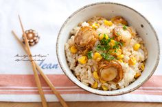 Rice made with baby scallops, sweet corn, butter, soy sauce, butter, parsley.