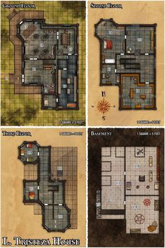 Map of Bitter Manor (Establishment, Noble, Crooked) House Map, D House, Fantasy Map, Medieval Fantasy, Pathfinder Maps, Nave Star Wars, Pen & Paper, Building Map, Adventure Map