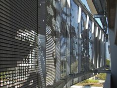 Alexandria Parking Structure   Located in the Mission Bay Block 27 of San Francisco, designed by WRNS Studio for Alexandria Real Estate Equities, houses 1,420 parking spaces on seven elevated levels. The structure features a metal screen with perforated imagery of California's redwood forests